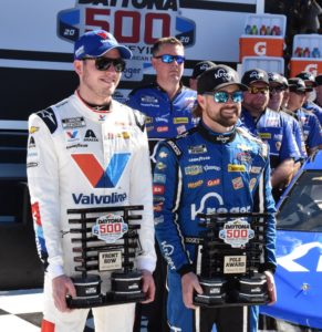 Daytona 500 front-row qualifiers Alex Bowman and Ricky Stenhouse Jr. display their achievement hardware. [Joe Jennings Photo]