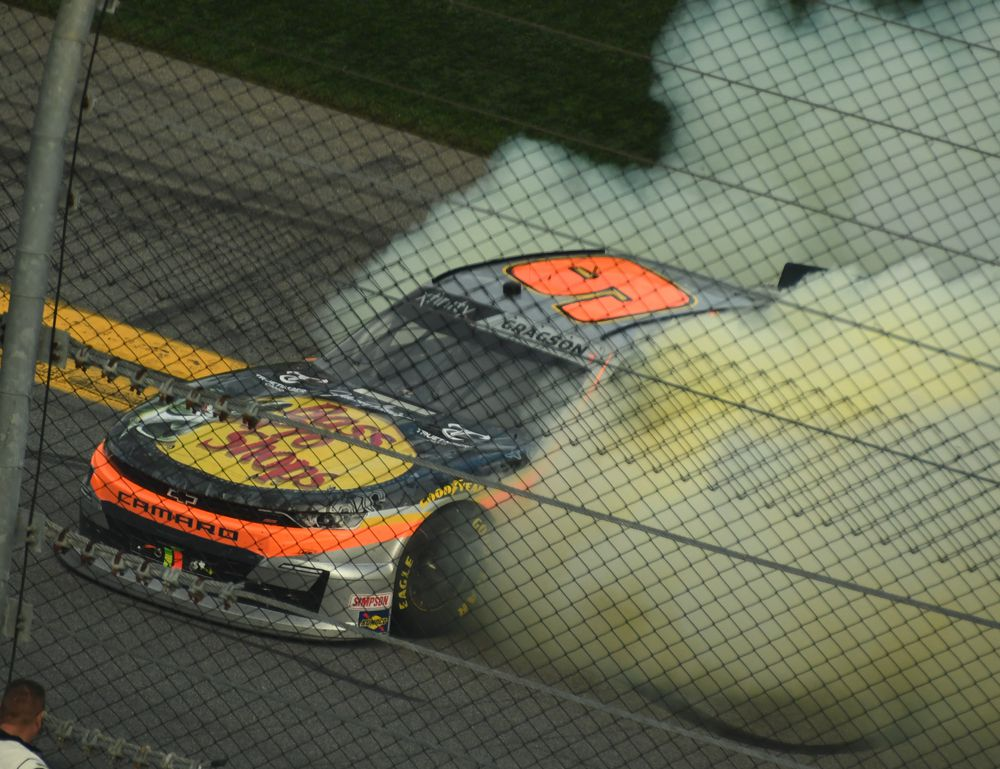 Noah Gregson does victory burnout at Daytona. [Joe Jennings Photo]