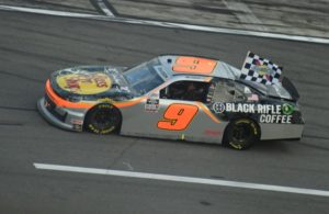Noah Gregson heads to victory lane at the Daytona International Speedway. [Joe Jennings Photo]
