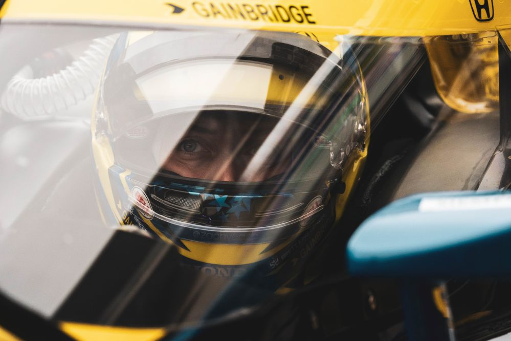 Zach Veach stares ahead through the windscreen as he gets ready to hit the track at Circuit of the Americas. © [Taylor Robbins/ Spacesuit Media]