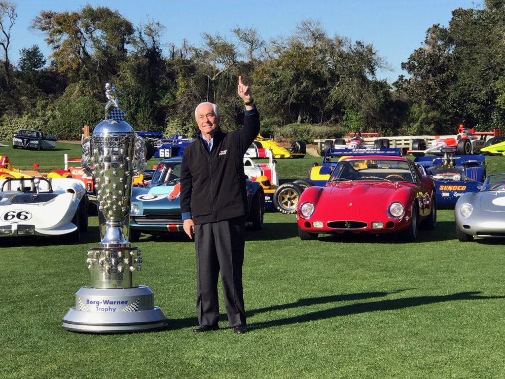 Roger Penske and the Borg Warner Trophy. [Photo by Eddie LePine]