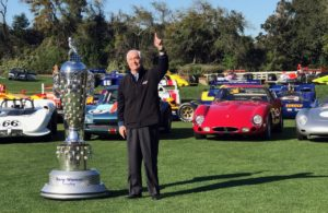 Roger Penske and the Borg Warner Trophy. [Photo by Eddie LePine]