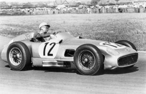 Stirling Moss in the Mercedes W 196 R winning the British Grand Prix in 1955. [Daimler Media Photo]