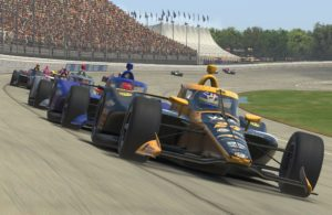 Sage Karam leads the field at virtual Michigan International Speedway