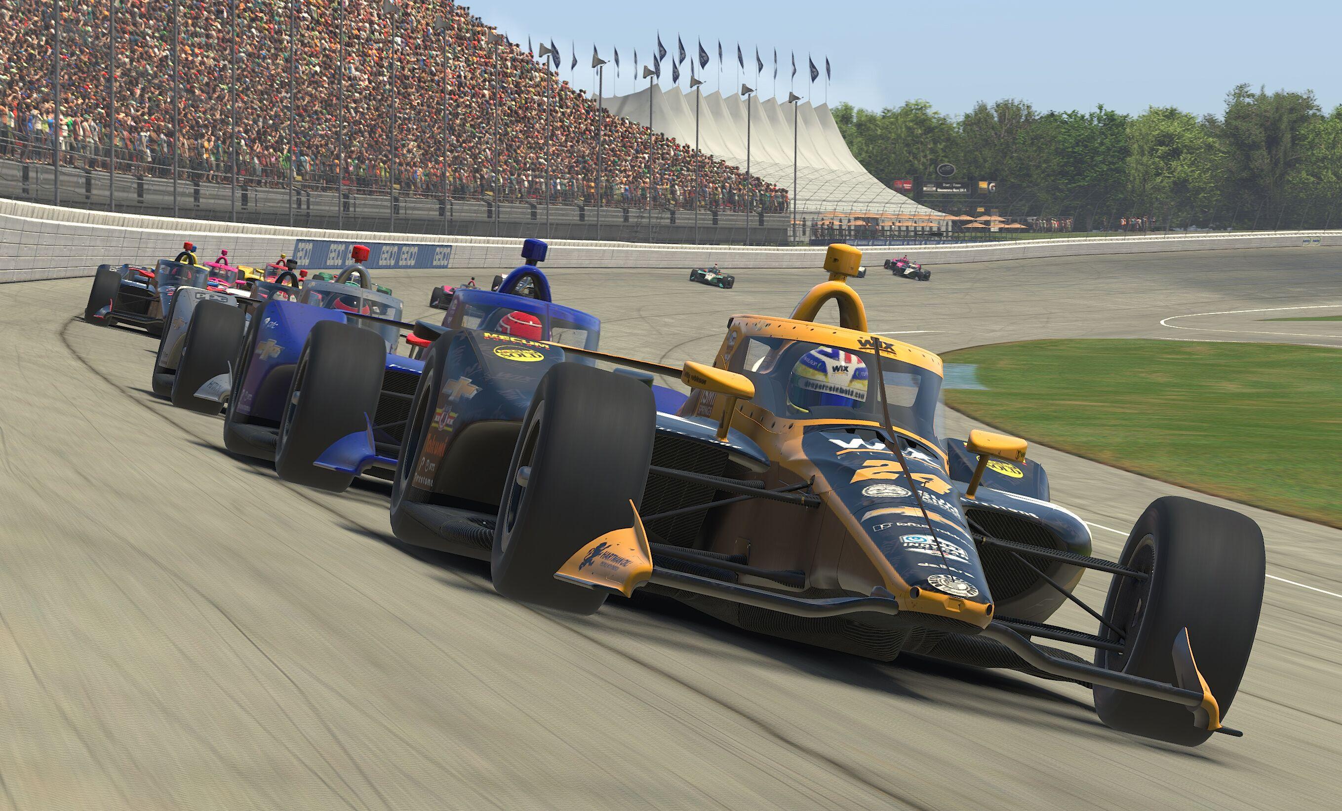 Sage Karam leads the field at virtual Michigan International Speedway