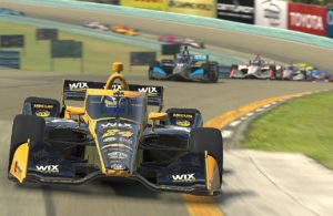 Sage Karam leads the field at the virtual Watkins Glen event.