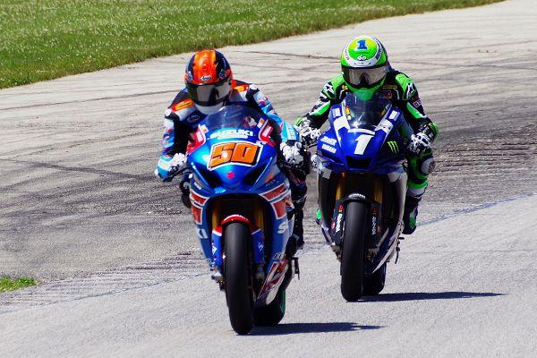 Moto America Super Bike #50 Bobby Fong, #1 Cameron Beaubier. [Roy Schmidt photo]