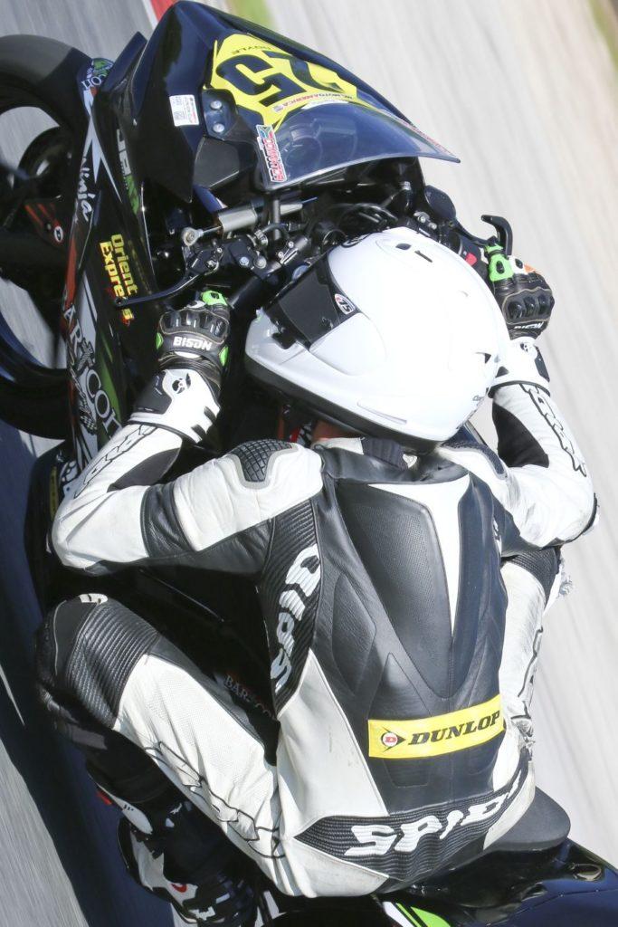 Dominic Doyle, winner Saturday and Sunday in Junior Cup (#25 Kawasaki). [Jon Kanter Photo]