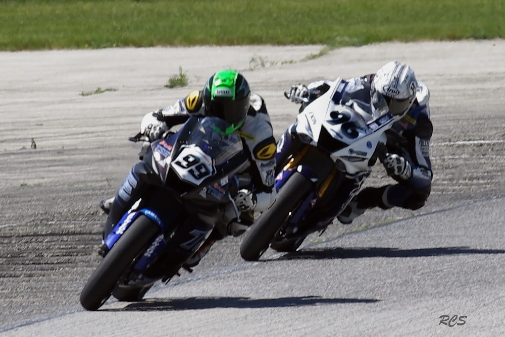 #99 Nate Minster and # 96 Jason Aguilar in Super Sport. [Roy Schmidt Photo]