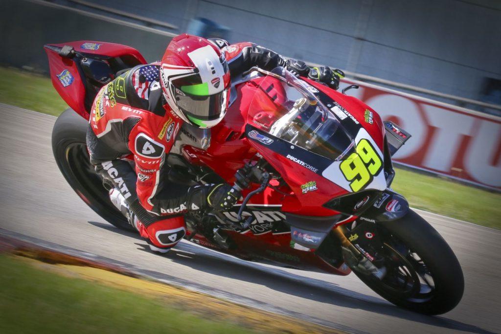 PJ Jacobsen winner on Saturday of Stock 1000 (#99 Ducati). [Jon Kanter Photo]
