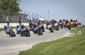 The start of Superbike Race 2 on Sunday. [Jon Kanter Photo]