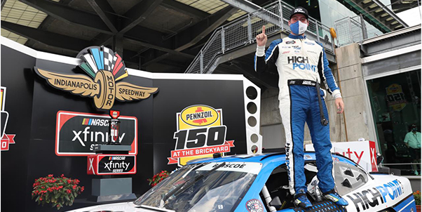 Chase Briscoe earned a long-sought victory on his home track in the Pennzoil 150 at the Brickyard NASCAR Xfinity Series race. [photo courtesy Indianapolis Motor Speedway]