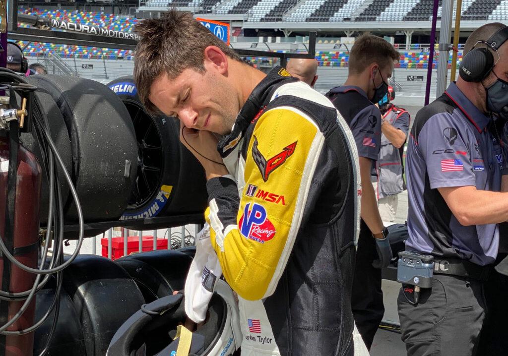 Jordan Taylor about to win Corvette's 100th in IMSA. [Photo by Eddie LePine]