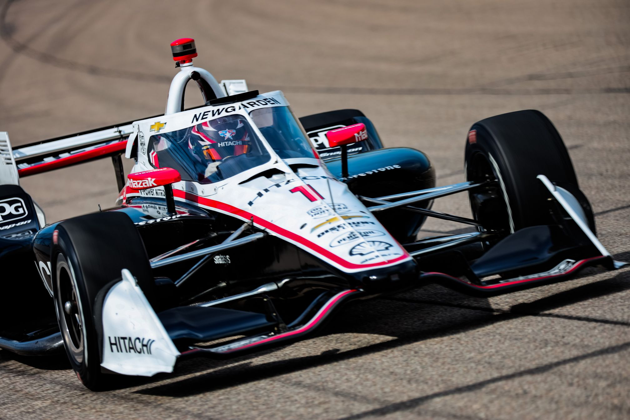 Josef Newgarden took the win in Race 2 at the Iowa Speedway giving Team Penske a sweep of the INDYCAR weekend. © [Andy Clary/ Spacesuit Media]