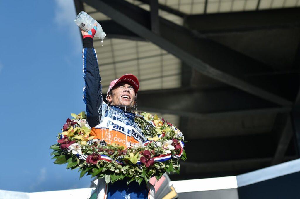 Takuma Sato celebrates his second Indianapolis 500 victory. [Chris Owens Photo]