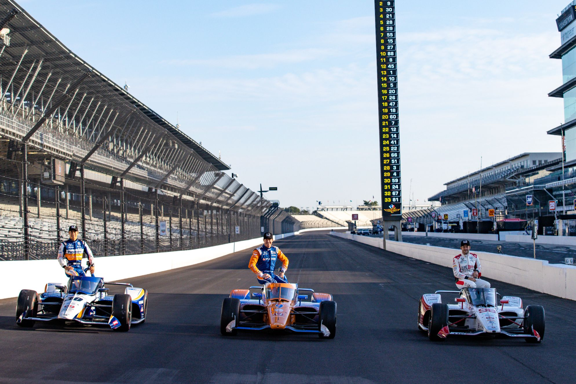 Front Row starters for the 104th Running of the Indianapolis 500 at the Indianapolis Motor Speedway: Takuma Sato, Scott Dixon and Marco Andretti. © [Andy Clary/ Spacesuit Media]