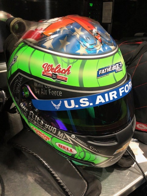 Conor Daly's helmet for the 104th Running of the Indianapolis 500 with the Welsch Furnace Company sticker.  [Butch Welsch Photo]