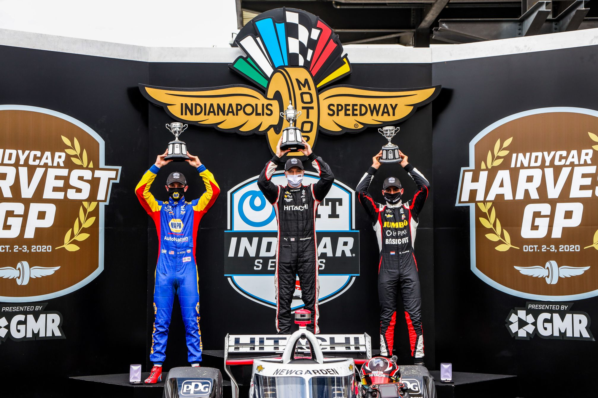 INDYCAR Harvest GP Race 1 podium: Alexander Rossi (2nd), Josef Newgarden (winner) and Rinus VeeKay (3rd). © [Andy Clary/ Spacesuit Media]