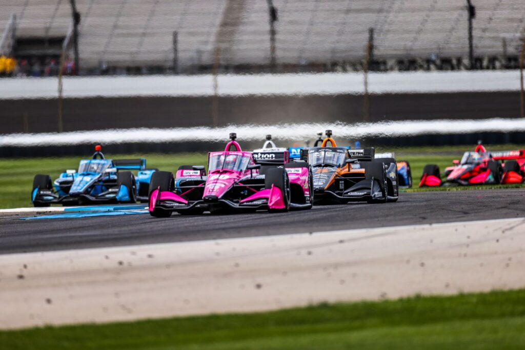Jack Harvey battles Pato O'ward in the INDYCAR Harvest GP Race 1 at the Indianapolis Motor Speedway. © [Andy Clary/ Spacesuit Media]