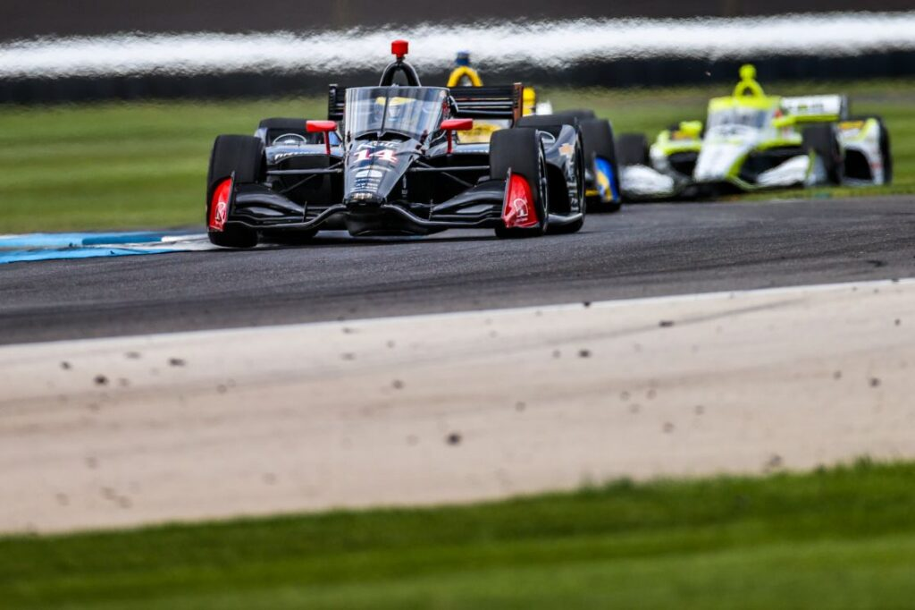 Sebastien Bourdais in the AJ Foyt Racing #14 at the INDYCAR Harvest GP Race 1. © [Andy Clary/ Spacesuit Media]