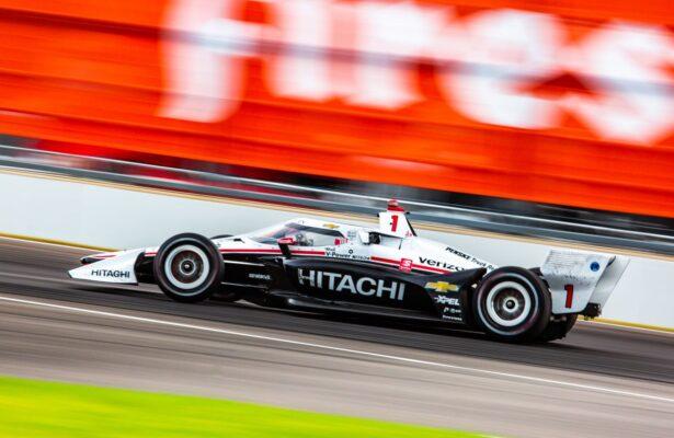Joseph Newgarden won the INDYCAR Harvest GP Race 1 on the Indianapolis Motor Speedway roadcourse. © [Kenneth Midgett/ Spacesuit Media]