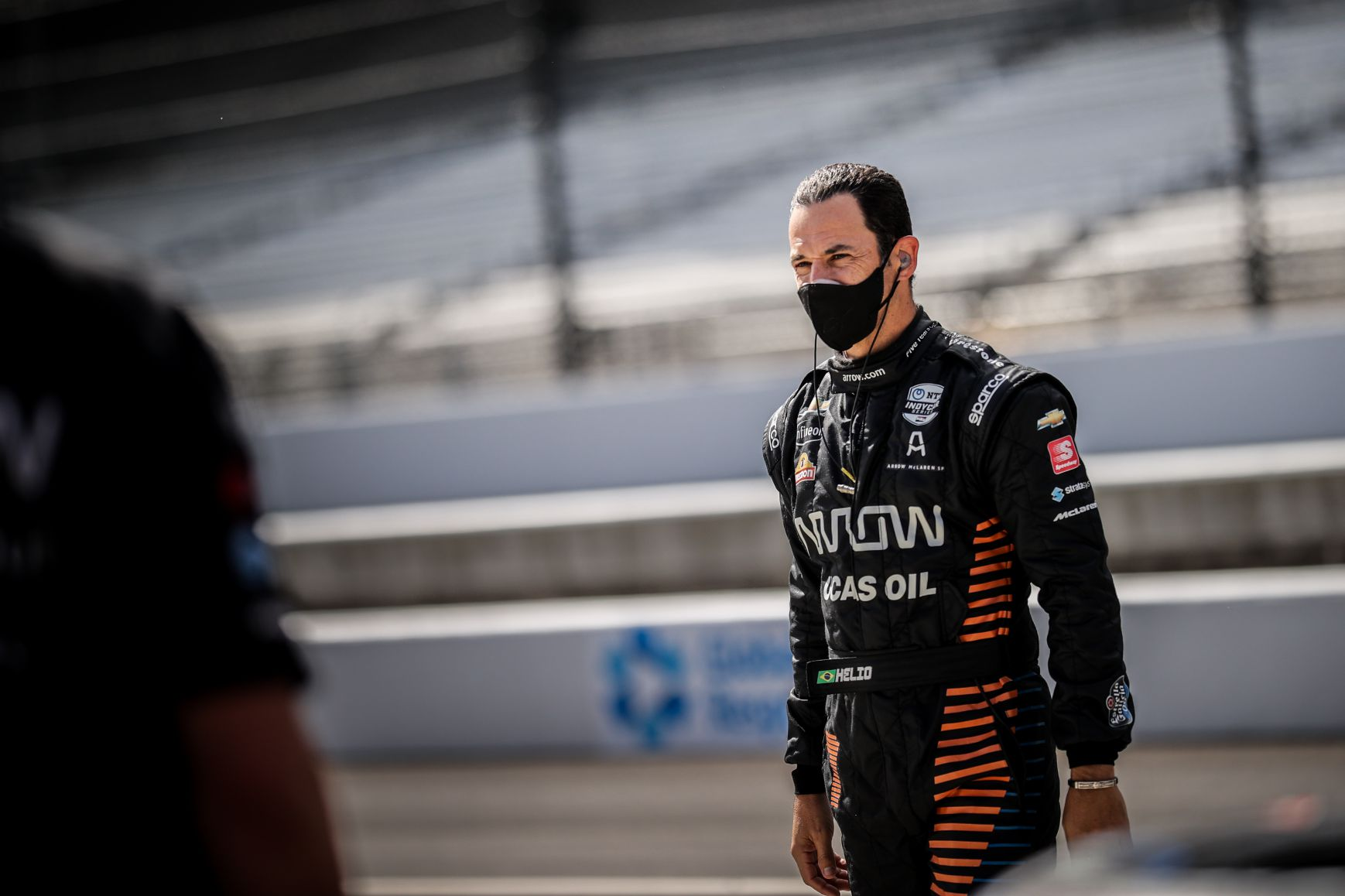 Helio Castroneves drove for Arrow McLaren SP in the INDYCAR Harvest GP at the Indianapolis Motor Speedway. © [Andy Clary/ Spacesuit Media]