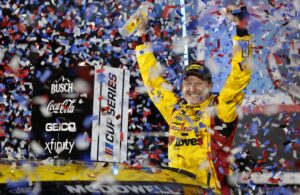 Michael McDowell celebrates in victory lane after winning the NASCAR Cup Series 63rd Annual Daytona 500 at Daytona International Speedway. (Photo by Jared C. Tilton/Getty Images)