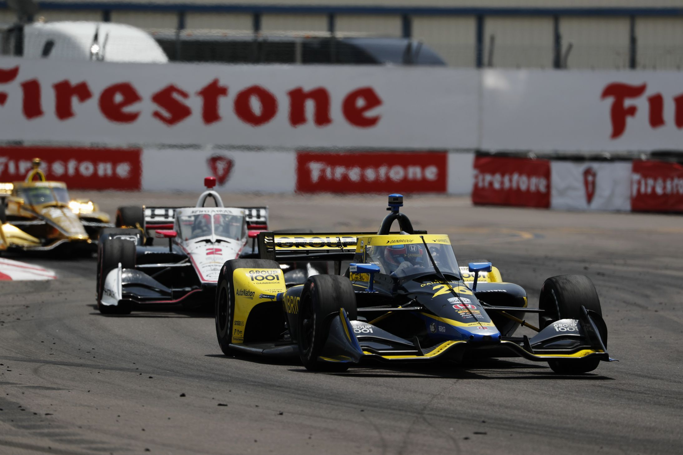 Colton Herta leads Josef Newgarden in the closing laps of the Firestone Grand Prix of St Petersburg.  [Chris Jones Photo]
