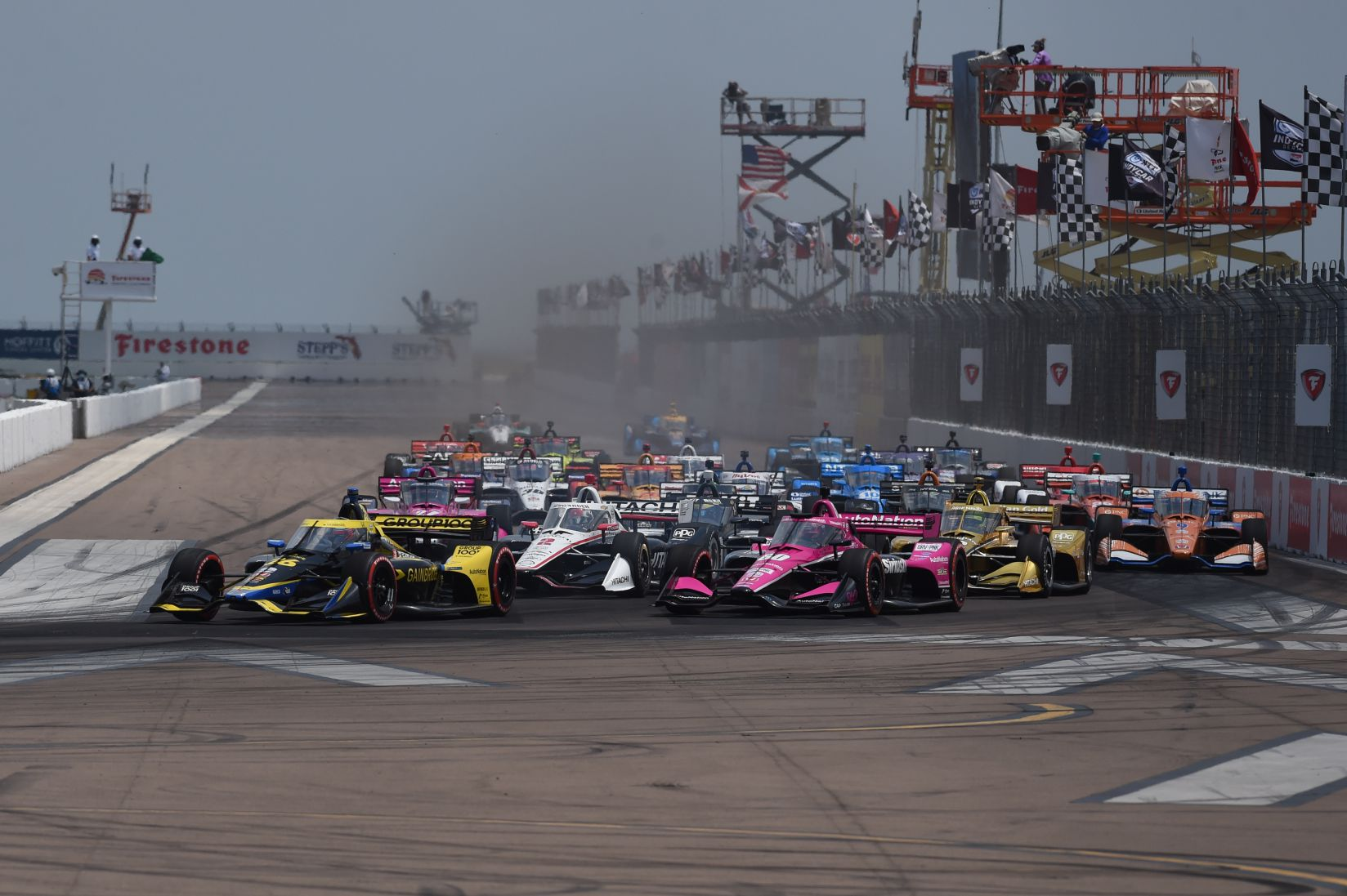 The opening lap of the 2021 Firestone Grand Prix of St Petersburg. [Chris Owens Photo]