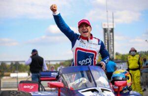 Alex Palou celebrates his first NTT IndyCar Series win in victory lane at Barber Motorsports Park. [Joe Skibinski Photo]