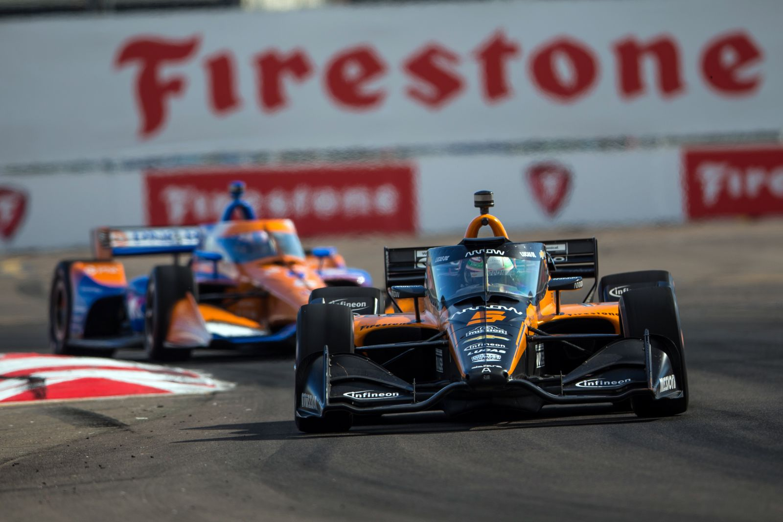 Patricio O'Ward races in front of Scott Dixon at the Firestone Grand Prix of St Petersburg. © [Al Arena / Spacesuit Media]