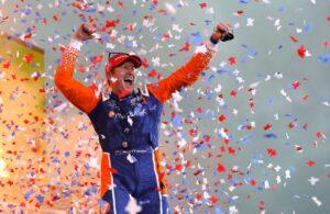 Scott Dixon celebrates his fifth win at Texas Motor Speedway. [Chris Owens Photo]