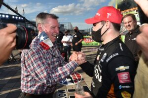 Pato O'Ward is congratulated by Johnny Rutherford. [Chris Owens Photo]