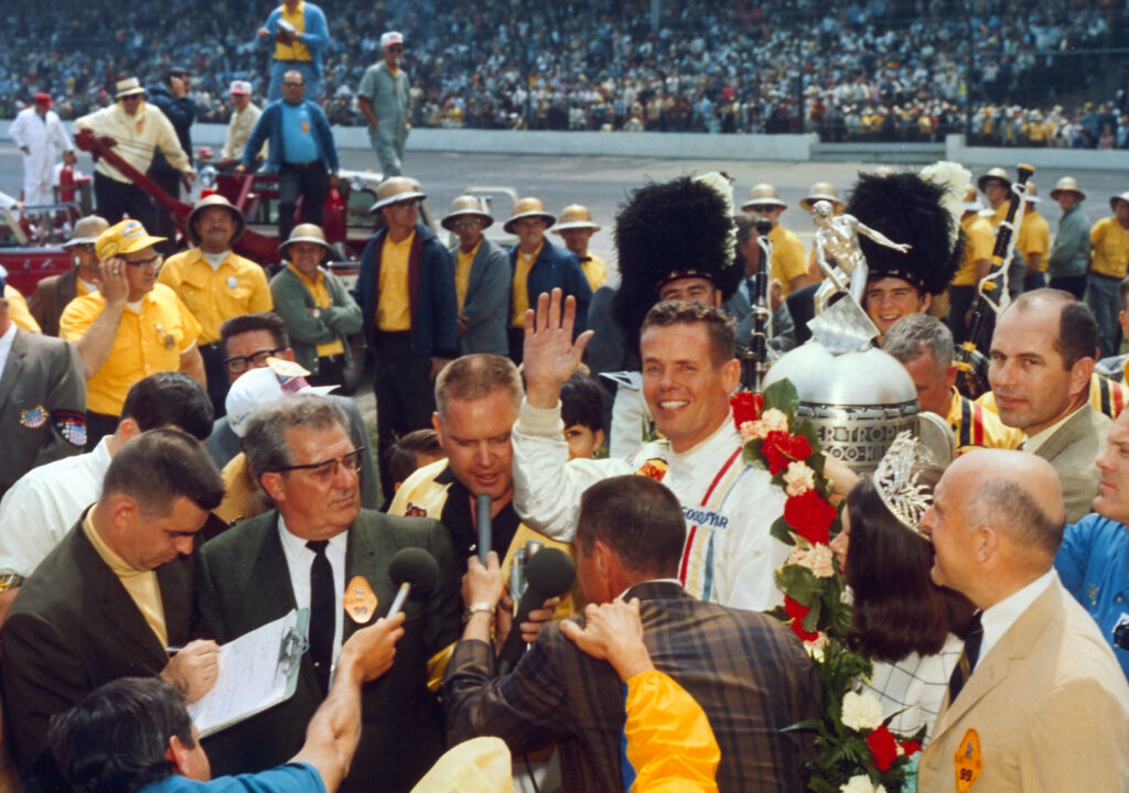 Bobby Unser in victory lane at Indianapolis after his win in 1968. [photo courtesy Indianapolis Motor Speedway]