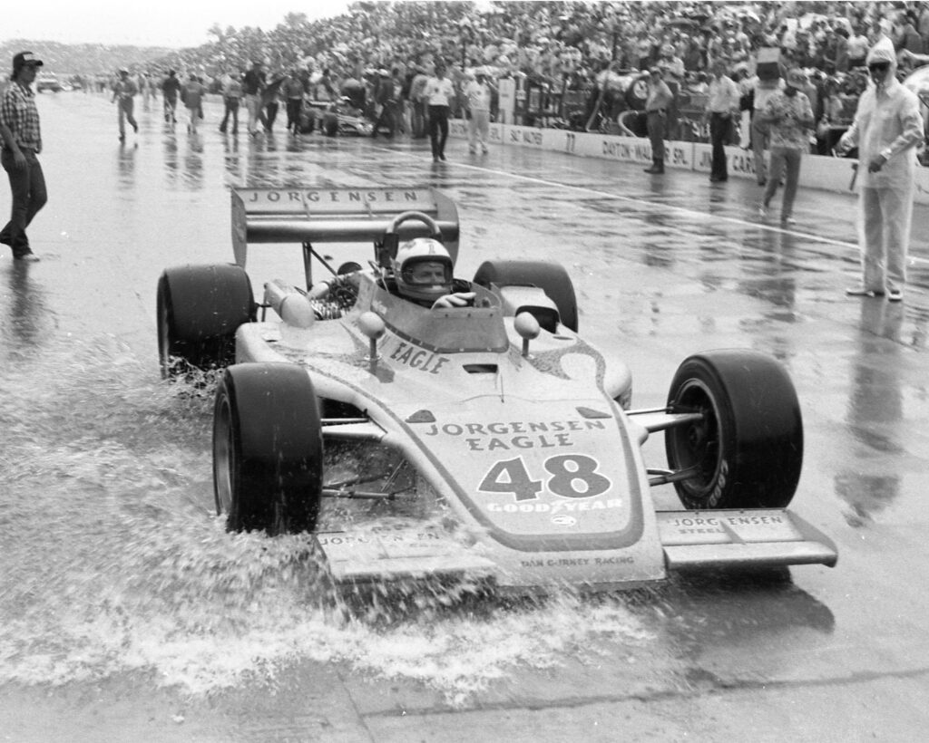 Bobby Unser wins the 1975 Indianapolis 500 (those aren't rain tires). [photo courtesy Indianapolis Motor Speedway]