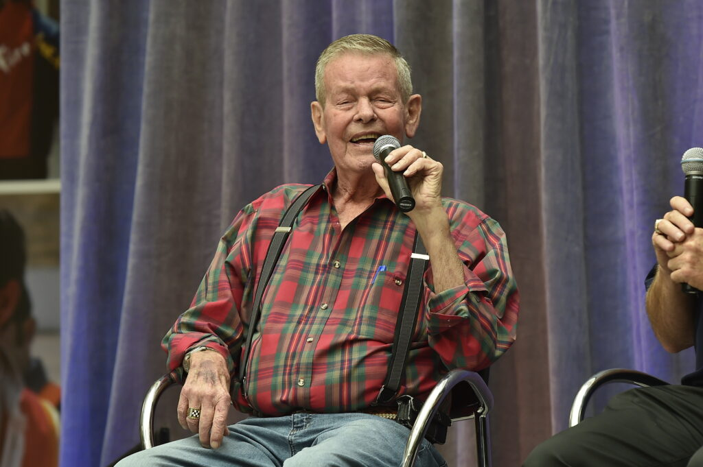 Bobby Unser on stage during a presentation at the Indianapolis Motor Speedway Museum -- Photo by: Chris Owens