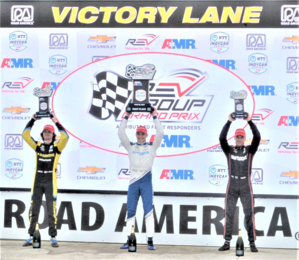 NTT Indy Car Series: #26 Colton Herta (Curb -Agajanian) 2nd place; #10 Alex Palou (Chip Ganassi Racing) 1st place; and #12 Will Power (Team Penske) in 3rd place. [Dave Jensen Photo]