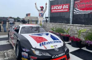 Ty Majeski in victory lane for the Father's Day 100 at The Milwaukee Mile. [Copyright © 2021 Midwest Tour]