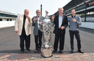 Four-Time Indianapolis 500 Winners: A.J. Foyt, Al Unser, Rick Mears and Helio Castroneves. [Chris Owens Photo]