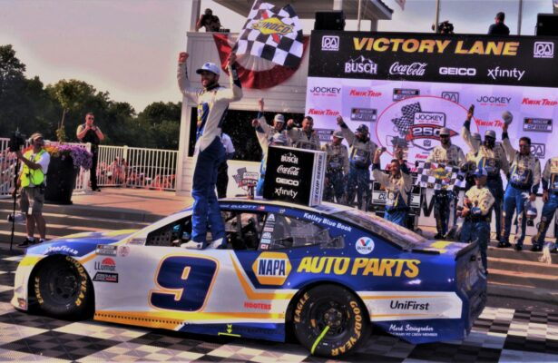 Chase Elliott in victory lane at Road America. [Dave Jensen Photo]