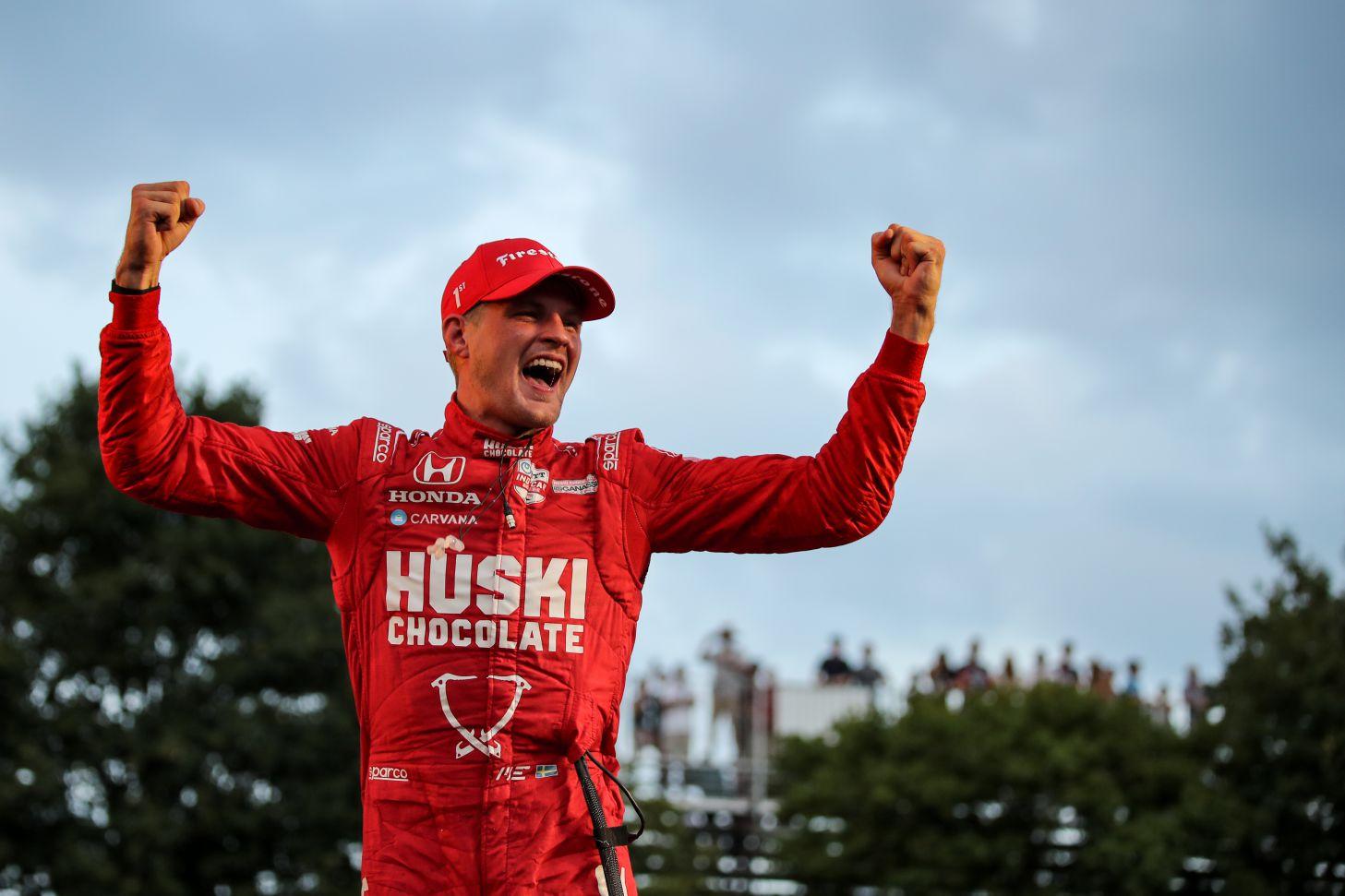 Marcus Ericsson celebrates his victory in the inaugural Big Machine Music City Grand Prix. [Joe Skibinski Photo]